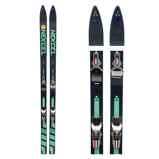 1970s Hexel Competition Honeycomb Vintage Skis with Look GT step-in bindings.
