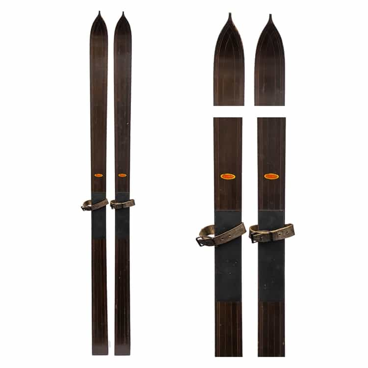1920's Lund Antique Touring Skis with mortise and leather bindings