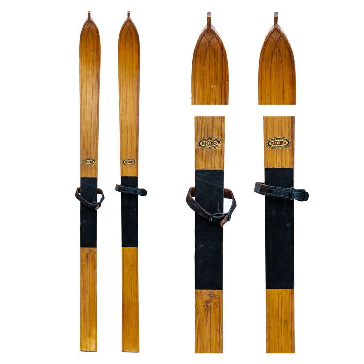 1930s Lund Vintage Children's Skis with Mortise & Leather Bindings