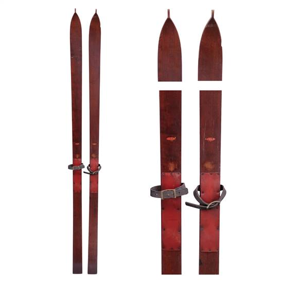 1920s Lund Vintage Maple Touring Skis With Morstise Andlleather Bindings