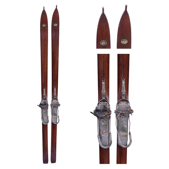 1930s Northland Hickory Ridge Top Vintage Slalom Skis with Bear-trap and cable bindings
