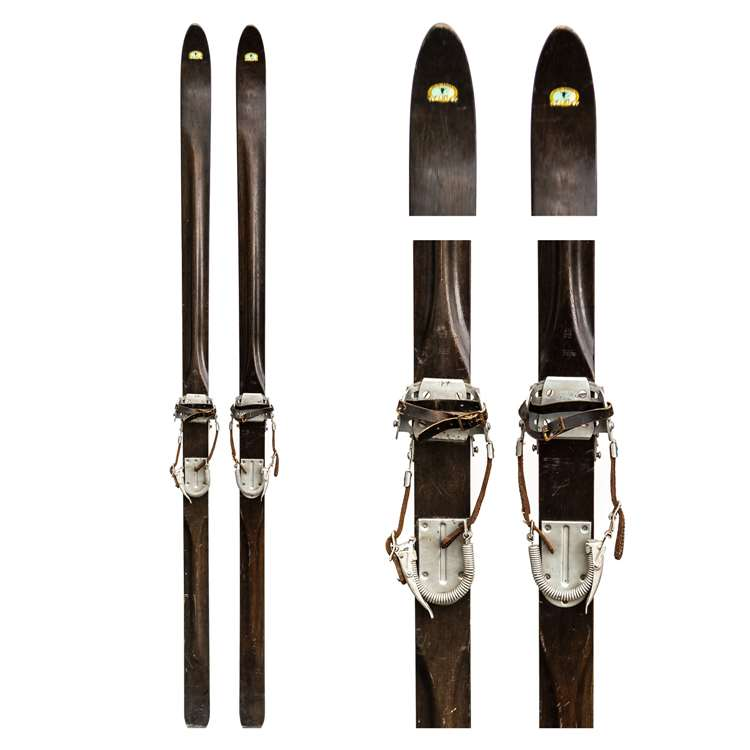 1930's Paris Ridge Top Downhill Skis with Bear Trap & Cable Bindings