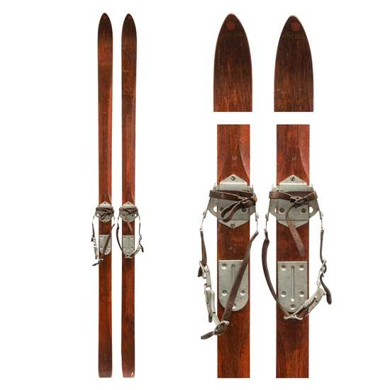 1930s Ski Rider Ridgetop Vintage Downhill Skis with Bear Trap and Leather Bindings