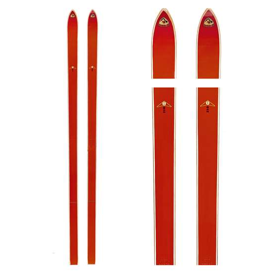 1960s Fischer Red Hickory Laminated Unmounted Skis