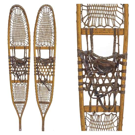 "1943 American Fork & Hoe 10th Mountain Division Snowshoes, Size 10"" x 58"""