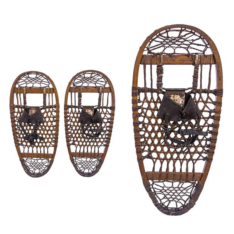 "1942 AF&H 10th Mountain Division Antique Bear Paw Snowshoes, Size 13"" x 28"""
