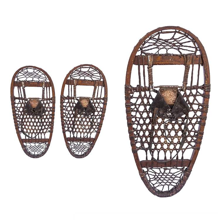 "1942 AF&H 10th Mountain Division Bear Paw Antique Snowshoes, Size 13"" x 28"""