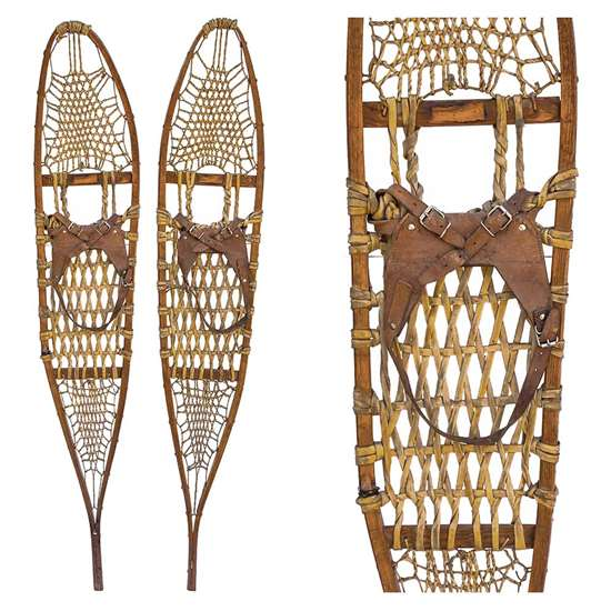 "1950s Athabascan Style Trapper Snowshoes, Size 10"" x 58"""