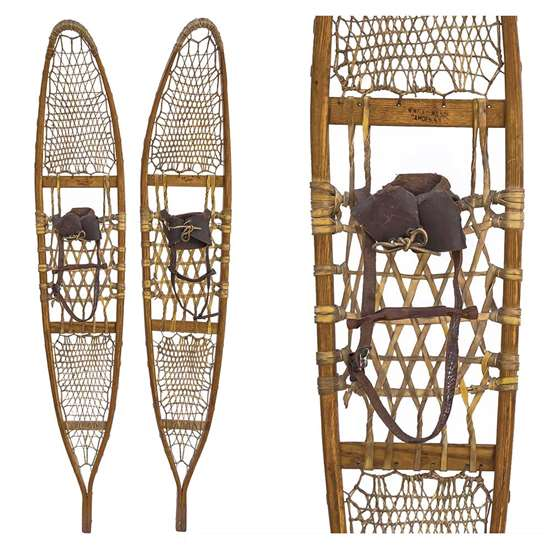 "1940s Bentley Wilson 10th Mountain Division Tactical Snowshoes, Size 10"" x 58"""