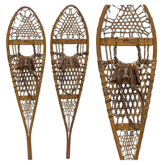 "1940s Chestnut Canoe Company Vintage Wood Snowshoes, Size 10"" x 48"""