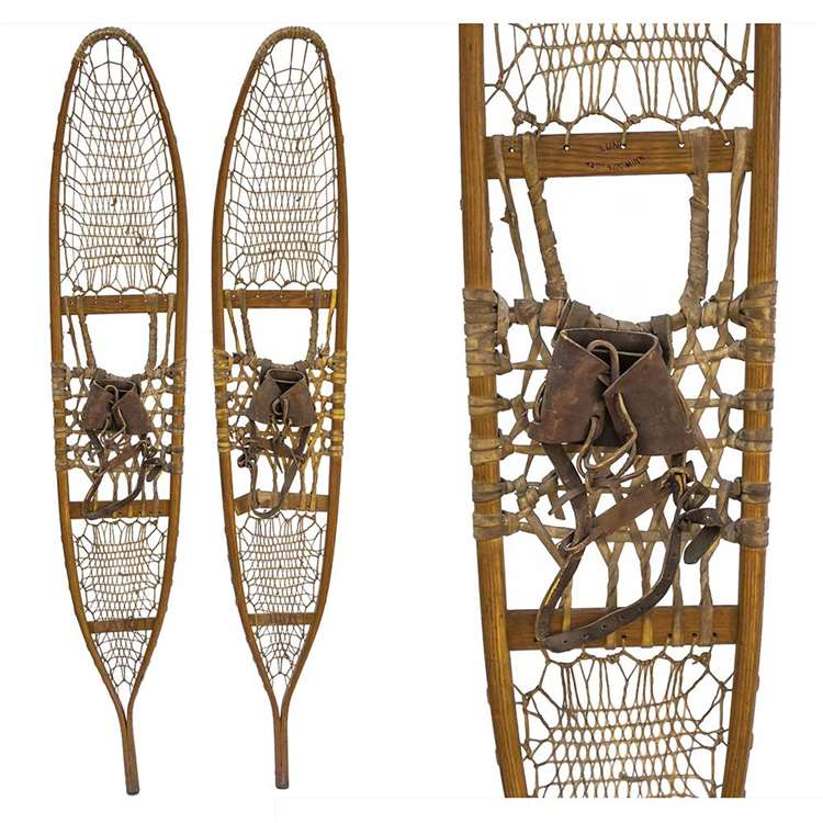 "1942 Lund 10th Mountain Division Traditional Snowshoes, Size 10"" x 58"""