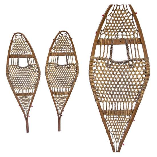 "1920s Native American Antique Wood Snowshoes, Size 10"" x 37"""