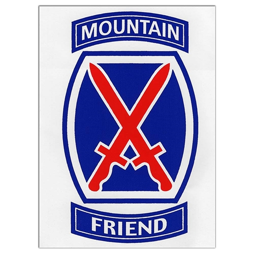 10th Mountain Division Friend Sticker- Decal for your car. Size-3 x 4 inches