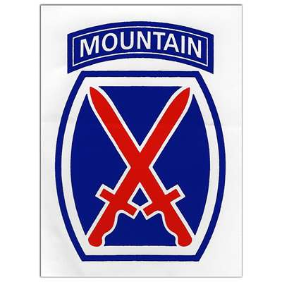 10th Mountain Division Sticker- Decal for your car. Size-3 x 4 inches