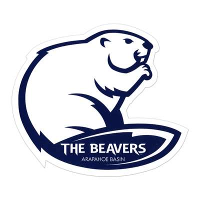 The Beavers Ski Area Skis/Helmet Sticker