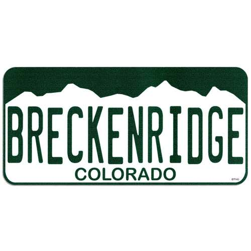 Breckenridge Colorado License Plate Bumper Sticker. 2 1/2 x 5 1/2 inches