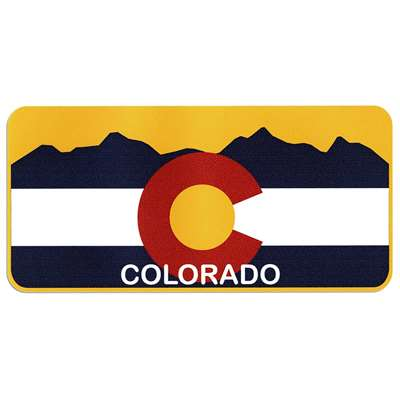 Colorado Flag with Mountains  License Plate Bumper Sticker, 2 1/2 x 5 1/2 inches