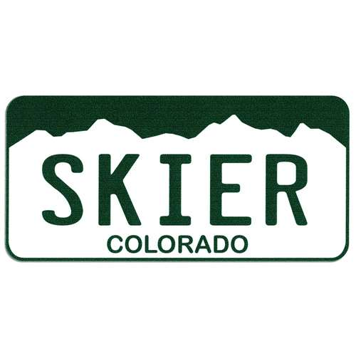 Skier Colorado License Plate Bumper Sticker, 2 1/2 x 5 1/2 inches