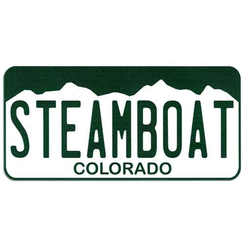 Steamboat Colorado License Plate Bumper Sticker, 2 1/2 x 5 1/2 inches