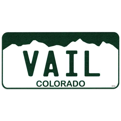 Vail Colorado License Plate Bumper Sticker. 2 1/2 x 5 1/2 inches