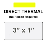 Yellow Direct Thermal Label 3' x 1', 1 Inch Core