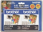 Brother LC51BK2PK 2-Pack Genuine Black Ink