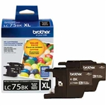 Brother LC75BK 2-Pack Genuine Black Ink LC752PKS