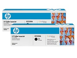 HP CC530AD 2-Pack Genuine Black Toner Cartridges