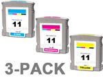 HP #11 3-Pack Inkjet Ink Cartridge Combo