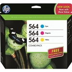 HP #564 Genuine Ink Cartridges Combo Pack B3B33FN