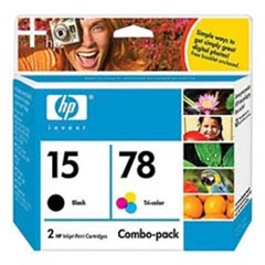 HP 15/78 2-Pack Black/Tricolor Ink/Inkjet Cartridges- C8789BN