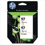 HP #97 Tri-Color Genuine Ink Cartridge Twin Pack C9349FN