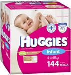 Huggies Infant Girl Nappies (4-8kg) Bulk  - 144 nappies