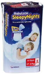 Babylove SleepyNights overnight pants 8-15 yrs - 8 pack