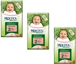Moltex Nature n.1 eco nappies  2 Mini  3-6kg MULTIBUY 44x3 (132 nappies)