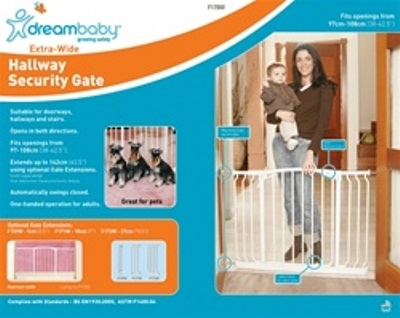 Dreambaby Safety Gate Swing Closed Chelsea Xtra Hallway White F170w