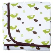 JJ Cole Collections Cotton Receiving Blanket - Green Bird