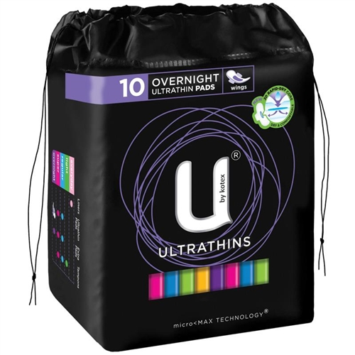 U by Kotex Pads Ultrathin Winged - Overnight 10's