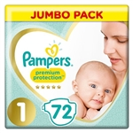 Pampers Premium Protection Jumbo Pack 3-6kg (72 Nappies)