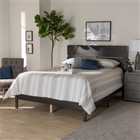 Designer Studios Anthony Modern and Contemporary Dark Grey Oak Finished Wood Full Size Panel Bed
