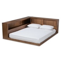 Designer Studios Erie Modern Rustic and Transitional Walnut Brown Finished Wood Queen Size Platform Storage Bed with Built-In Outlet