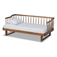 Designer Studios Muriel Modern and Transitional Walnut Brown Finished Wood Expandable Twin Size to King Size Spindle Daybed