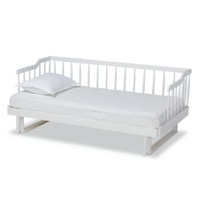 Designer Studios Muriel Modern and Transitional White Finished Wood Expandable Twin Size to King Size Spindle Daybed