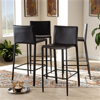 Designer Studios Malcom Modern and Contemporary Brown Faux Leather Upholstered 4-Piece Bar Stool