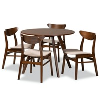 Designer Studios Philip Mid-Century Modern Transitional Light Beige Fabric Upholstered and Walnut Brown Finished Wood 5-Piece Dining Set