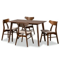 Designer Studios Lois Mid-Century Modern Transitional Light Beige Fabric Upholstered and Walnut Brown Finished Wood 5-Piece Dining Set