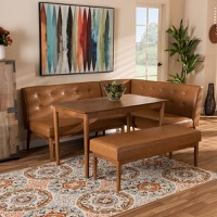 Designer Studios Arvid Mid-Century Modern Tan Faux Leather Upholstered and Walnut Brown Finished Wood 4-Piece Dining Nook Set