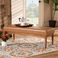 Designer Studios Arvid Mid-Century Modern Tan Faux Leather Upholstered and Walnut Brown Finished Wood Dining Bench