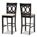 Designer Studios Carson Modern and Contemporary Sand Fabric Upholstered and Espresso Brown Finished Wood 2-Piece Bar Stool Set