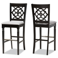 Designer Studios Alexandra Modern and Contemporary Grey Fabric Upholstered and Espresso Brown Finished Wood 2-Piece Bar Stool Set